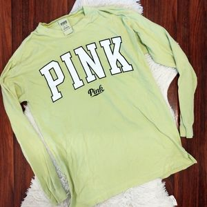 PINK Long Sleeve T-shirt Green and White